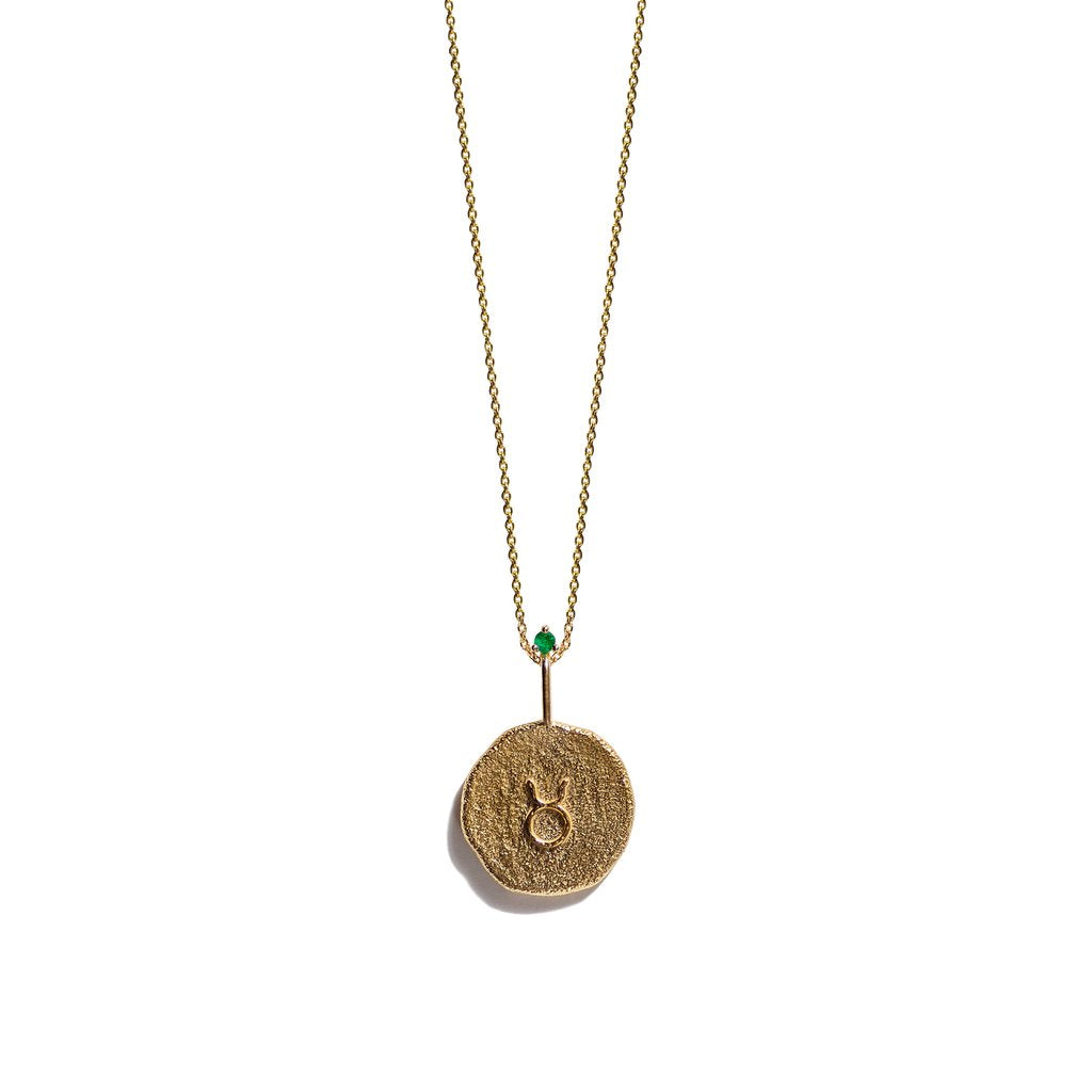 TAURUS, The Gold Zodiac Necklace By Aletheia & Phos