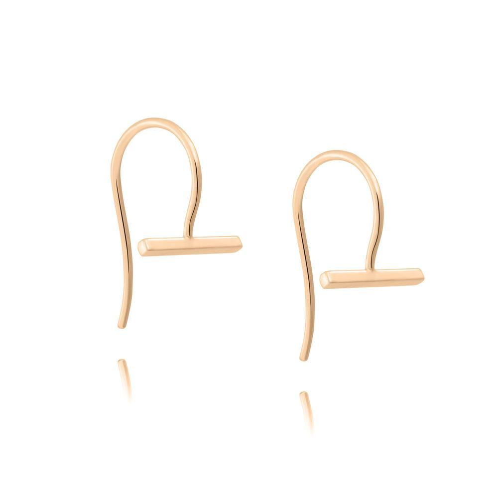 Linda Tahija Mini T Bar Earrings, Rose Gold