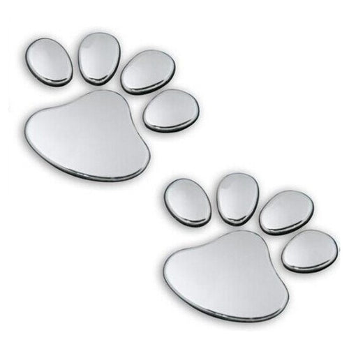 2pcs/ Lot Stylish Silver Funny Paw Print Stickers