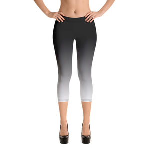 Black and White Ombre Leggings, Capris and Shorts