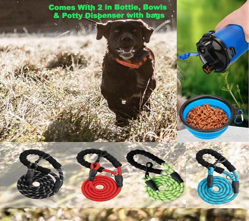 5 FT Heavy Duty Leash With Bottle and Bowl