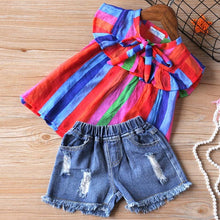 Load image into Gallery viewer, Sodawn Girls Clothing Set Baby Girls Clothes Summer New Stripe Design Tops+Pant  2Pcs Children Clothes Baby Clothes