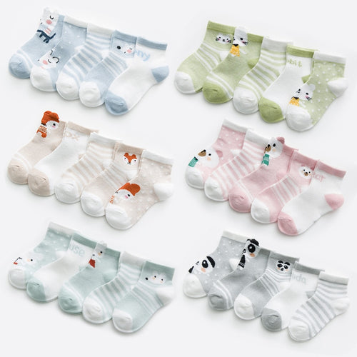 5Pair Cute Multi-pattern Socks