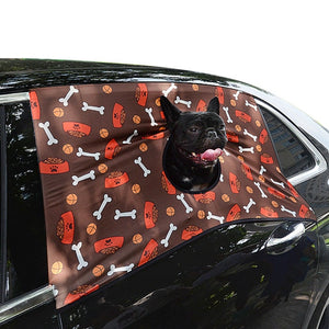 Pet Elasticity Car Visor Cover Dog Sun Shade Car Printed Hang Out Window Curtain Pet Supplies Accessories