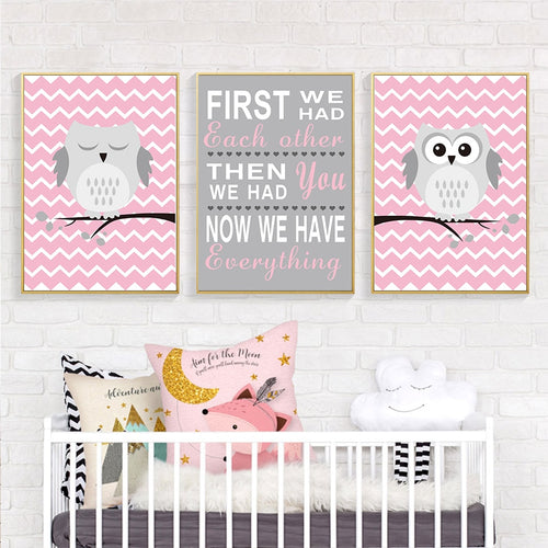 Light Pink Owl Nursery Canvas Wall Art: Great New Baby Gift