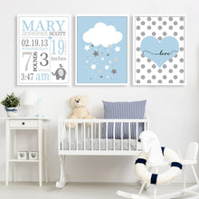 Load image into Gallery viewer, Elephant StarCanvas Wall Printings:  Personalized Nursery Decor : 4 styles