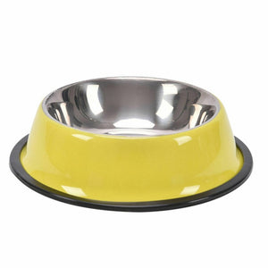 Pets Feeding bowl Anti Skid Stainless Steel Travel Food Water cat dog bowls Dish For Dog Cat Puppy 6 Colors