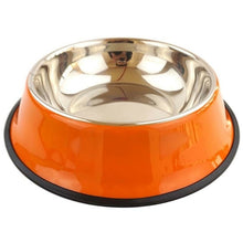 Load image into Gallery viewer, Pets Feeding bowl Anti Skid Stainless Steel Travel Food Water cat dog bowls Dish For Dog Cat Puppy 6 Colors
