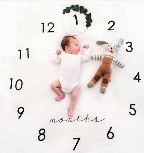 Baby Milestone Cotton Blanket Monthly Growth Great for Photos