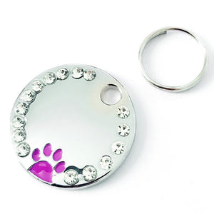 Zinc Alloy Pet ID Tag with Paw Print and Rhinestones