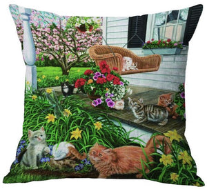 New Cute Printed Cotton Linen Cat Pillow Cover : Different scenes available