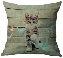 Load image into Gallery viewer, New Cute Printed Cotton Linen Cat Pillow Cover : Different scenes available