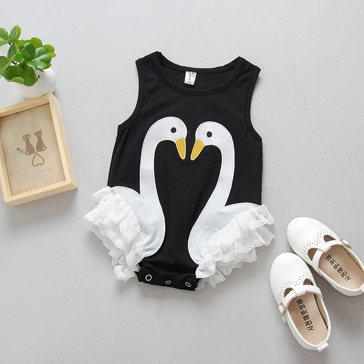 Summer 2018 Casual Baby Kids Clothes Girl Swan Lace Romper Jumpsuit Outfits Clothing