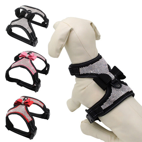 Pet Dogs Safe Vest Travel Supplies Breathable Reflective Harness with Glittering Rhinestone and Bow Knot Wholesale