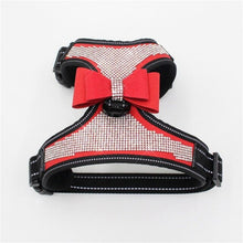 Load image into Gallery viewer, Pet Dogs Safe Vest Travel Supplies Breathable Reflective Harness with Glittering Rhinestone and Bow Knot Wholesale