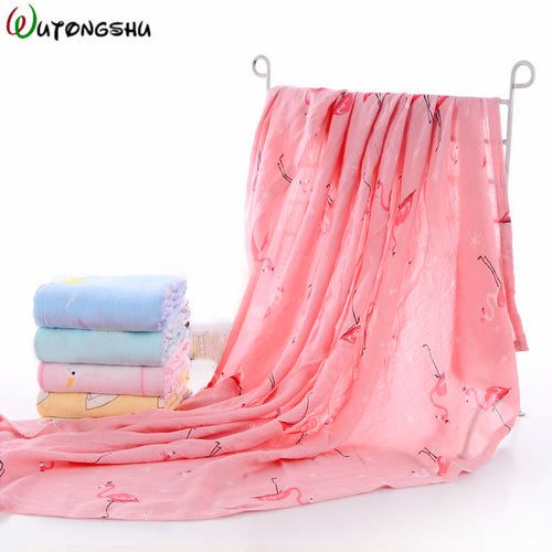 2Pcs/ Pack Bamboo Cotton Baby Blanket Wraps for Bath/ Bed or use as a Stroller Cover