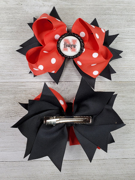 Nebraska Huskers Hairbow - Red Polka Dot