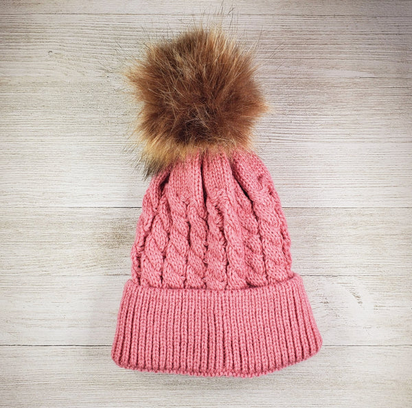 Infant Hat with pom pom - pink