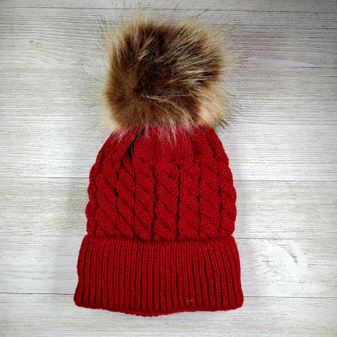 Infant Hat with pom pom - maroon/red