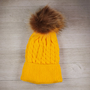 Infant Hat with pom pom - Yellow