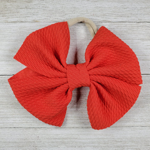 Bow 4.5in Headband or Clip - Red