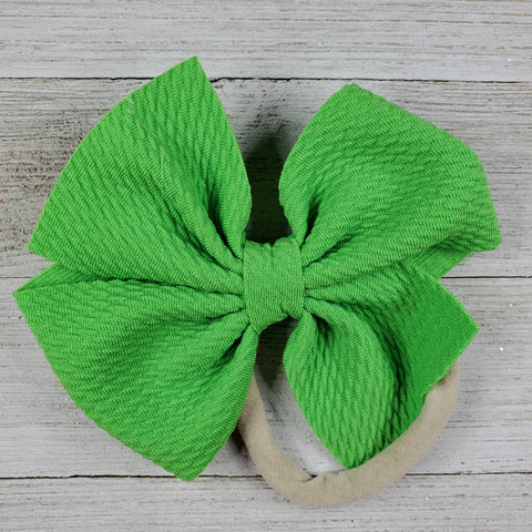 Bow 4.5in Headband or Clip - Lime Green