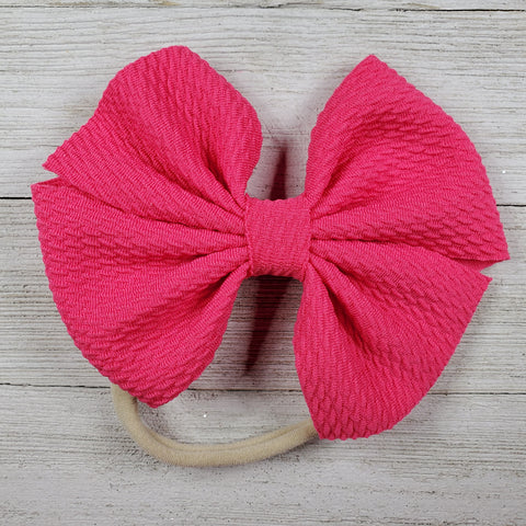Bow 4.5in Headband or Clip - Bright Pink