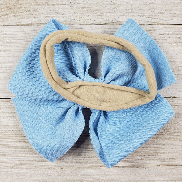 Bow 4.5in Headband or Clip - Light Blue