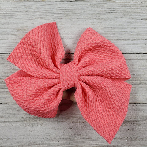 Bow 4.5in Headband or Clip - Coral
