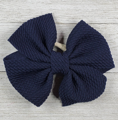 Bow 4.5in Headband or Clip - Navy Blue