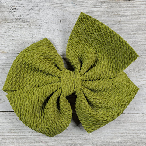 Bow 4.5in Headband or Clip - Green