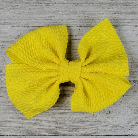 Bow 4.5in Headband or Clip - Yellow