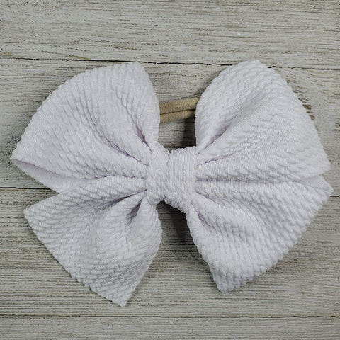 Bow 4.5in Headband or Clip- White