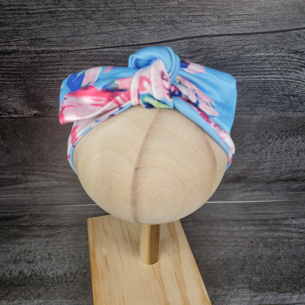 Swaddle Blanket and Headband - Blue Floral