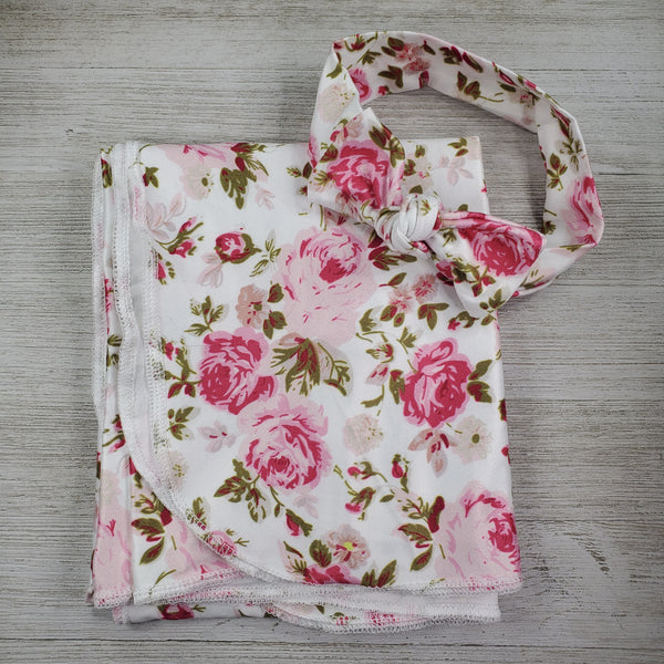 Swaddle Blanket and Headband - White Rose