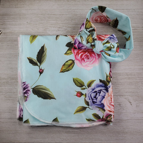 Swaddle Blanket and Headband - Floral