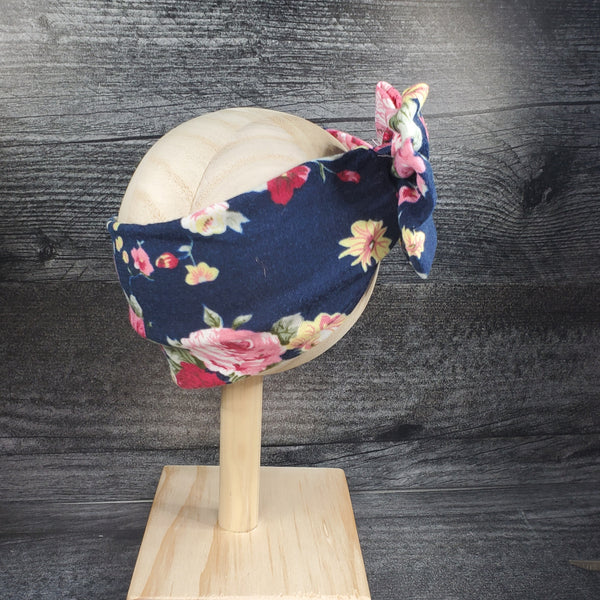 Swaddle Blanket and Headband - Navy Blue Floral