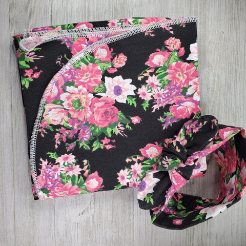 Swaddle Blanket and Headband - Black Floral