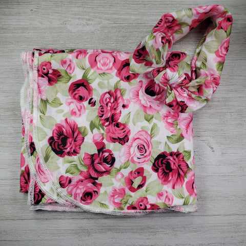 Swaddle Blanket and Headband - Pink Floral