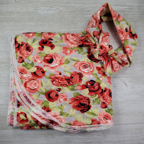 Swaddle Blanket and Headband - Red Floral