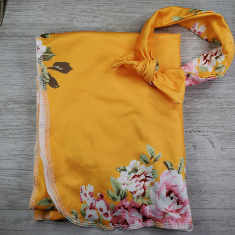 Swaddle Blanket and Headband - Yellow Floral