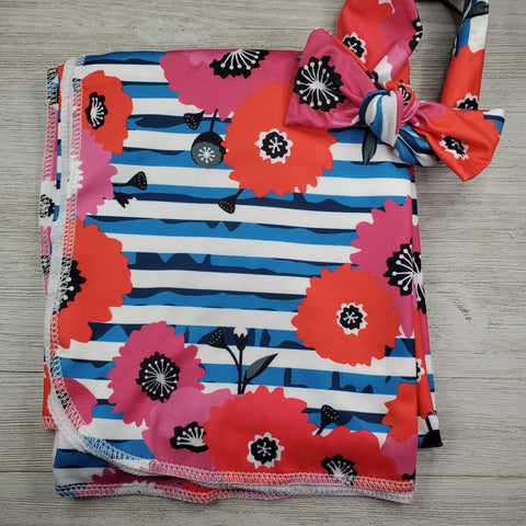 Swaddle Blanket and Headband - Floral Stripe