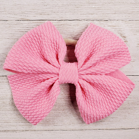 Bow 4.5in Headband or Clip - Light Pink