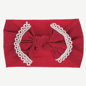 Nylon Headband with fringe - Raspberry