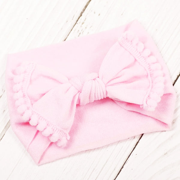 Nylon Headband with tassel - Light Pink