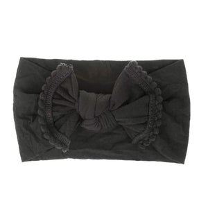 Nylon Headband with tassel - Black
