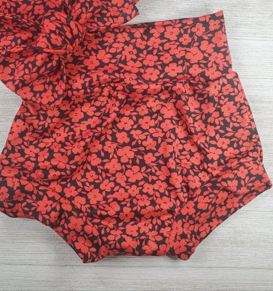 Bummie Set - Red Floral with Matching Knot Bow