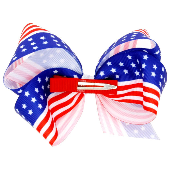 Red White Blue Bow Clip