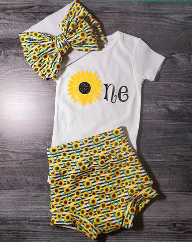 "1 year old outfit - Sunflower ""One"" Outfit"