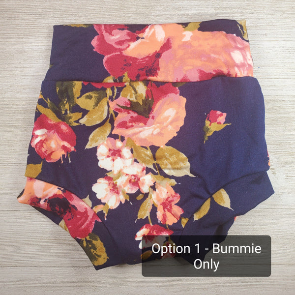 Bummie Set - Navy Blue Floral